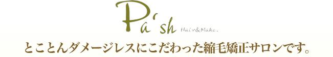株式会社CTFカラー東京(pash hair)はとことんダメージレスにこだわった縮毛矯正サロンです。